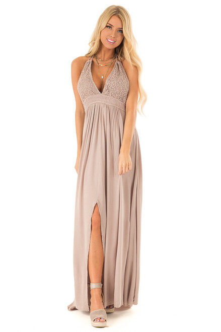 7c86ede9880 Latte Backless Halter Top Maxi Dress with Lace Details