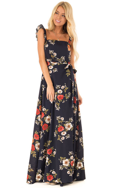 a8943775996 Navy Floral Print Maxi Dress with Side Tie and Ruffle Straps