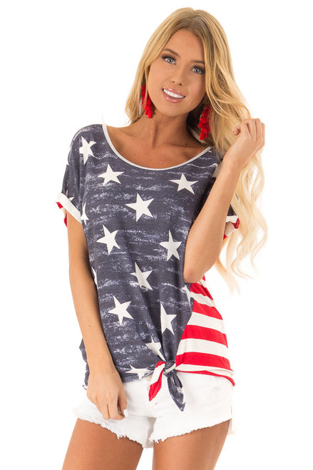 839ac438255 Navy Crimson and Ivory Patriotic Top with Front Tie Detail