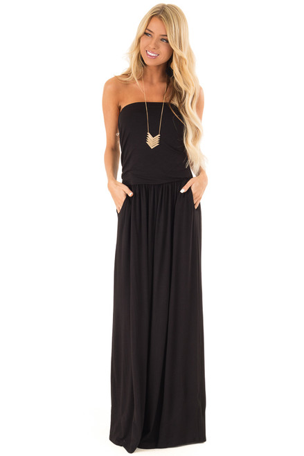 92c5f17c3e8 Obsidian Strapless Maxi Dress with Side Pockets