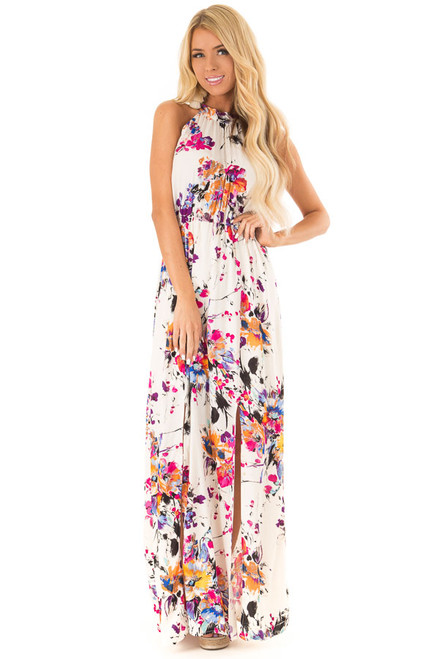 9892bf366f4 Cream Floral Print Halter Maxi Dress with Tie Back Detail