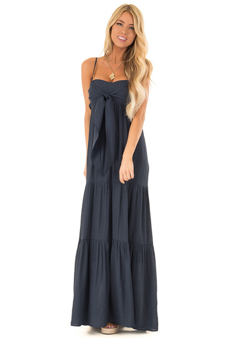 069da50a886 Midnight Navy Tiered Maxi Dress with Front Tie Detail