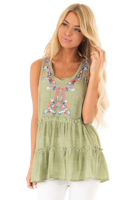 873cd7af7dc Green Apple Tiered Peasant Tank Top with Floral Embroidery