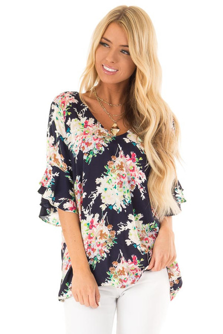 ddcda2a45c9 Midnight Navy Floral Top with Ruffled Sleeves and Back Tie