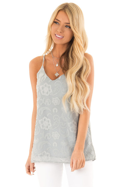 00000ba2be8 Blue Sage Floral V Neck Tank Top with Strappy Back Details