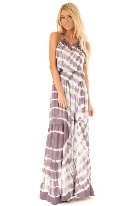 dc668d1bfc4 Lavender and Cream Sleeveless Tie Dye Maxi Dress