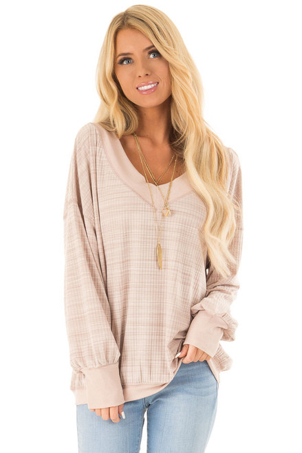 c001b508431d Pale Blush Oversized V Neck Top with Long Sleeves