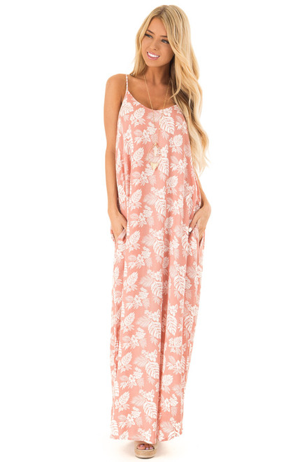 3a66d0974ad Salmon Floral Print Long Maxi Dress with Side Pockets