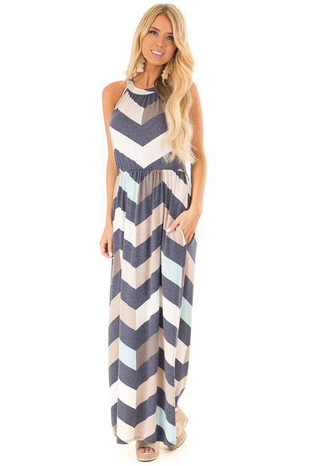1717028ef02 Navy and Taupe Chevron Print Maxi Dress with Side Pockets