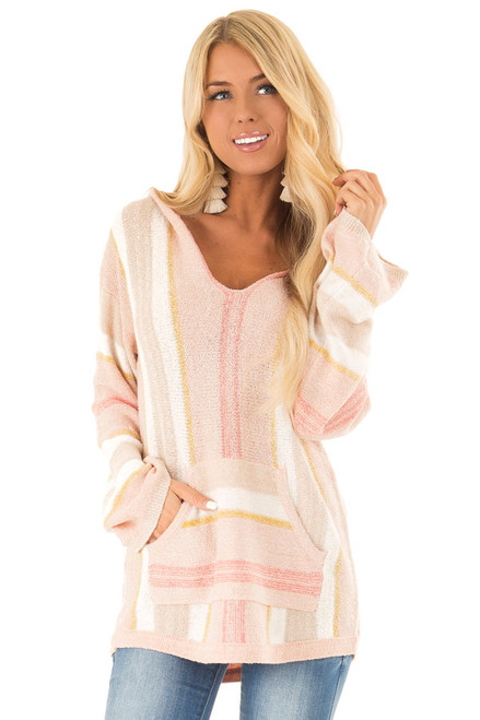 b7bef3a167c Peachy Pink Multicolor Striped V Neck Hoodie Sweater