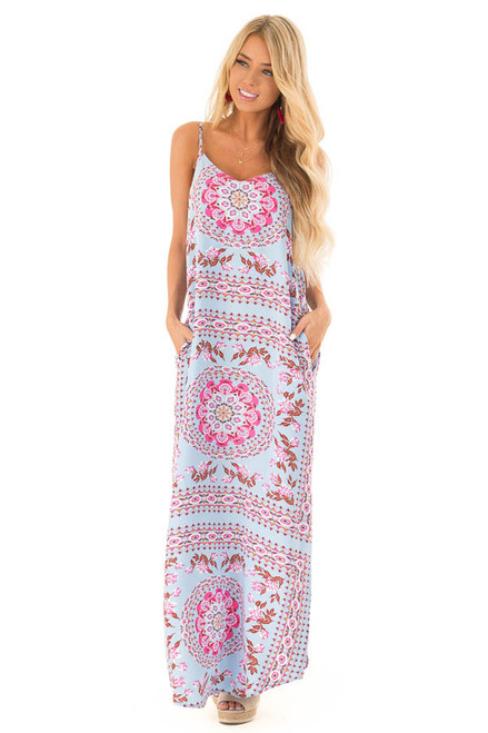 f748c6cc2bb Sky Blue Multi Print Sleeveless Maxi Dress with Side Pockets