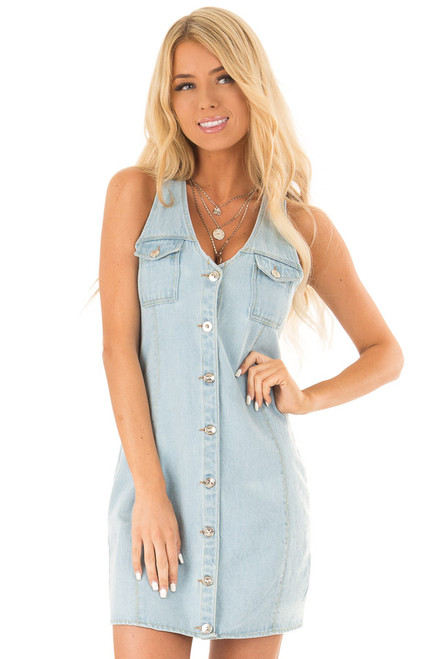 84a4faca71a Light Denim Curvy Mini Dress with Breast Pockets and Buttons