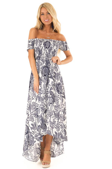 3ebb3b76f5f Coconut White and Navy Smocked Maxi Dress with Floral Print