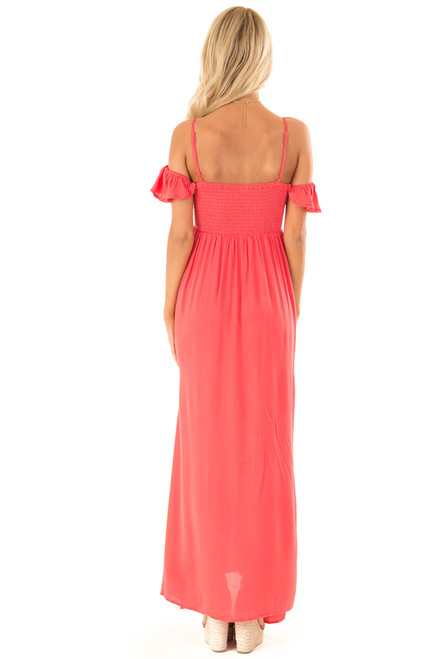 510d59ee93e ... Coral Cold Shoulder Maxi Dress with Smocked Bust back full body ...