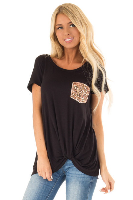 c648c1803c5a Black Top with Front Twist and Sequin Pocket