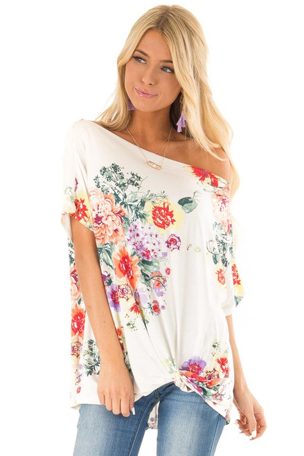 630a3f101 Off White Floral Print Off Shoulder Top with Twisted Hemline