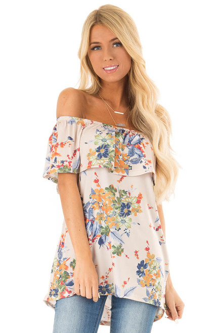 769f6193209 Sandy Floral Off the Shoulder Top with Ruffle Detail