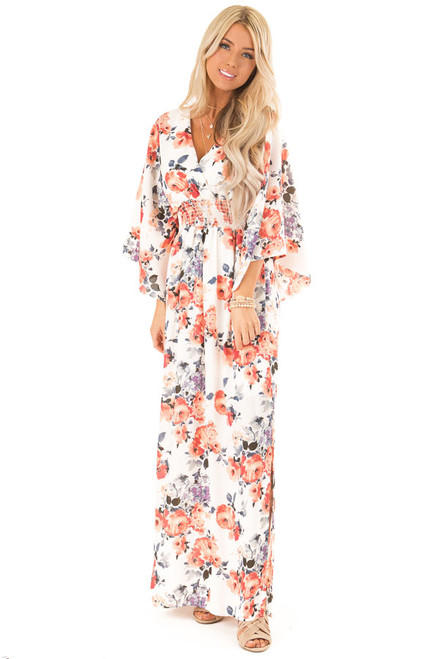 a71323161ee Ivory Floral Print Maxi Dress with Smocked Waist