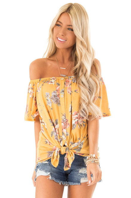 afbd7ce3 Marigold Floral Print Off the Shoulder Button Down Top
