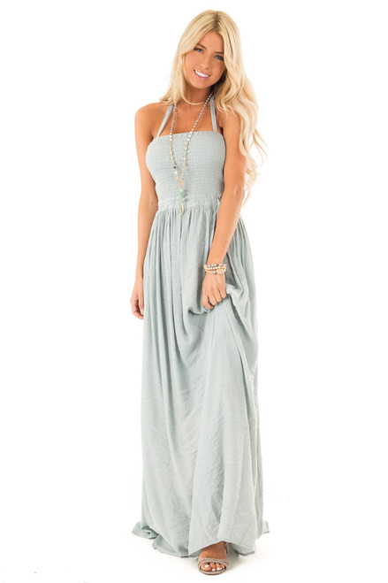 24c5e2f186c4 Dusty Blue Smocked Halter Maxi Dress with Criss Cross Back