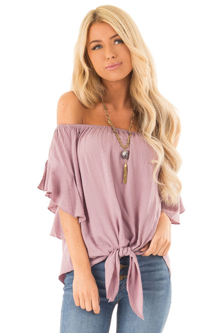 a5d65c402b2 Orchid Haze Off Shoulder Top with Swiss Dots and Front Tie