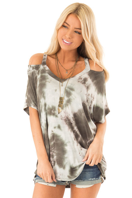 6361d286d201ac Olive Green Tie Dye Knit V Neck Top with Cold Shoulders