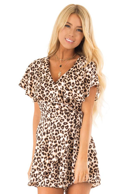 34927e12e8ef Leopard Print Wrap Style Backless Romper with Waist Tie