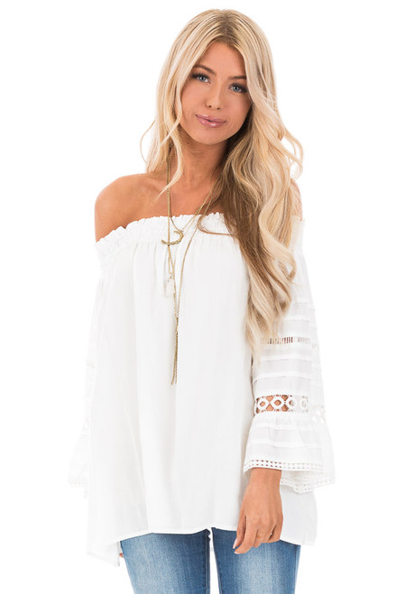 2e84bf99132 Off White Off the Shoulder Long Sleeve Top with Lace Details