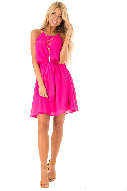 e70cd2808075 ... Hot Pink High Neck Mini Dress with Waist Tie front full body ...