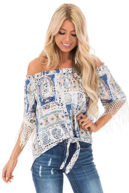 b101a742e59 Steel Blue and Off White Paisley Print Off Shoulder Top