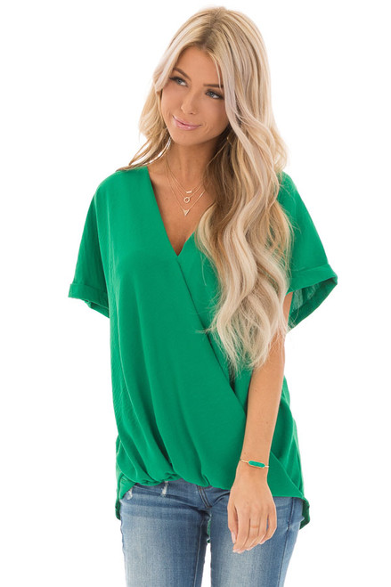 b86bf7fd035 Kelly Green V Neck Surplice Top with Short Cuffed Sleeves