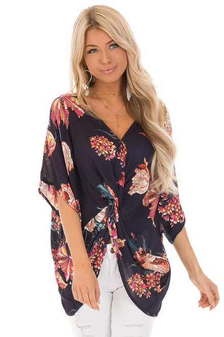 49c794d9420 Midnight Navy Floral Print Reversible Top with Twist Detail