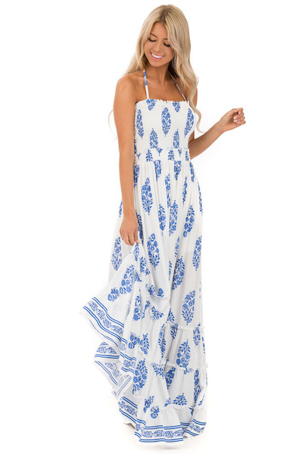 5e6dafef68458 Cotton and Cobalt Blue Floral Maxi with Lace Up Back Detail