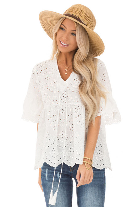 d2696a4c821 Pure White Eyelet Lace Babydoll Top with Ruffle Sleeves