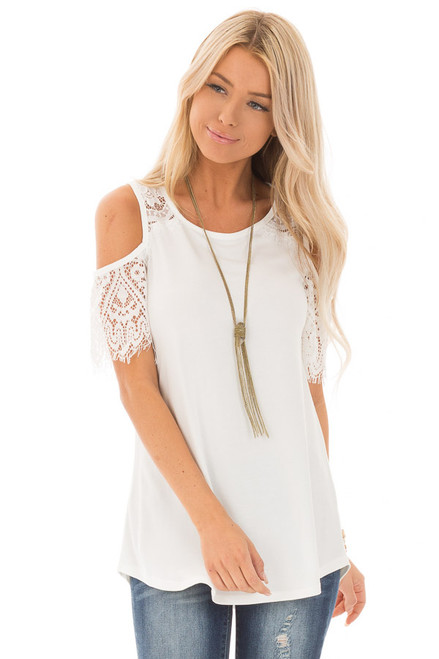 ff7e4b4316a Off White Cold Shoulder Top with Lace Contrast Short Sleeve