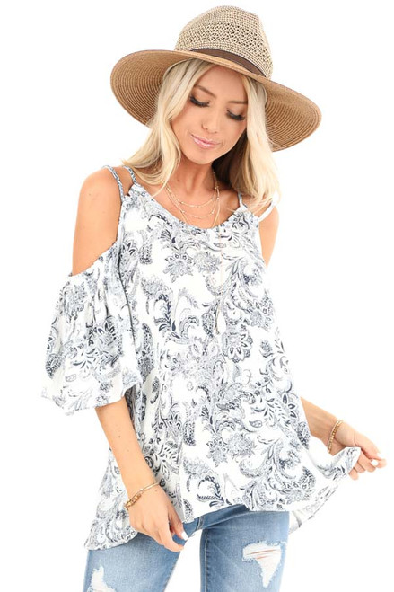 3aec2075e14 Midnight and Ivory Jacquard Print Cold Shoulder Top. $36.99 · Vintage Blue  ...