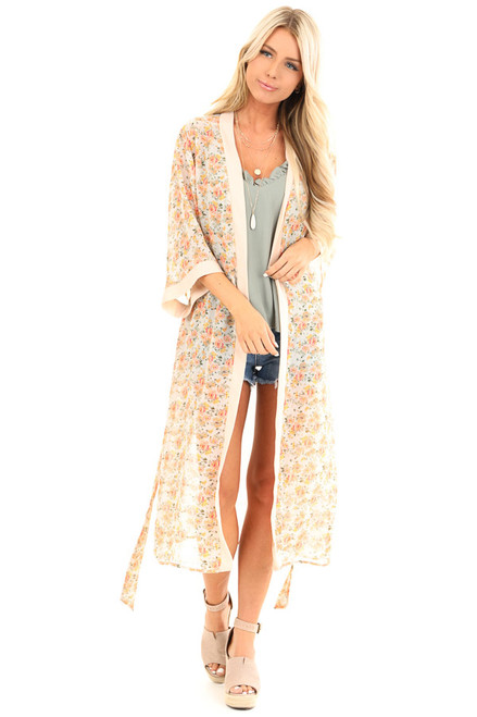 c79cd1894 Peach Floral Print Open Front Kimono with Waist Tie