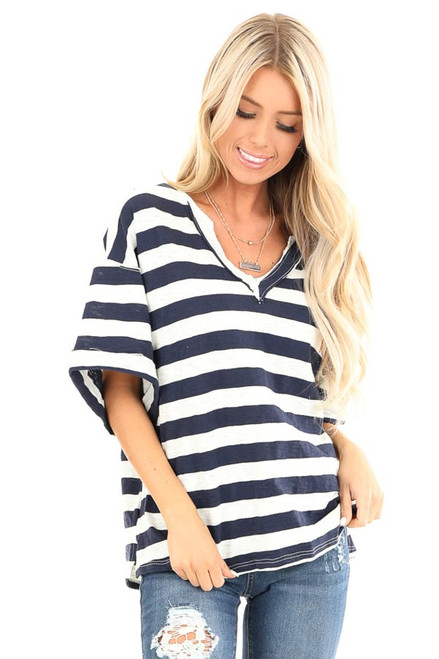 388ad4f97231 Navy and Oat Striped Oversized V Neck Short Sleeve Top