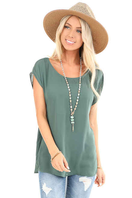 4800755135b4 Pine Cap Sleeve Top with Back Fabric Buttons and Pleat