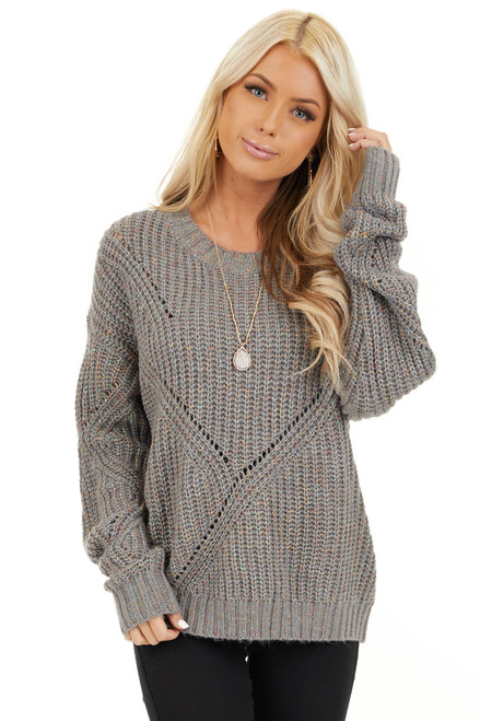 Ash Grey and Multi Color Thread Loose Fit Knit Sweater