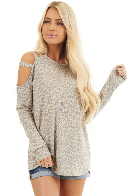 Cold Shoulder Ladder Cutout Long Sleeve Relaxed Casual Knit V-neck Top Taupe
