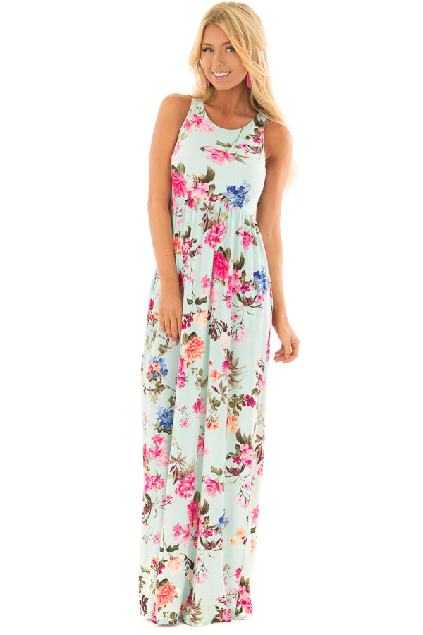 89e5dc524f Mint Racerback Floral Maxi Dress with Side Pockets front full body ...