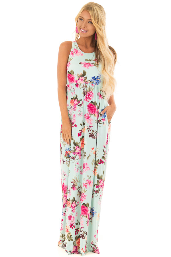 cec1152e27 Mint Racerback Floral Maxi Dress with Side Pockets front full body