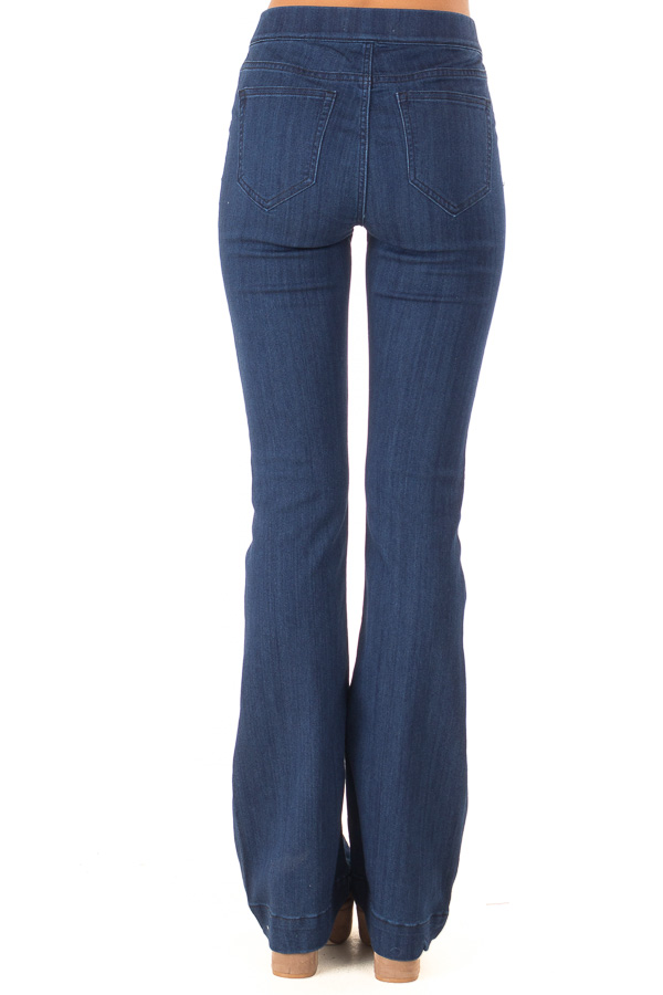 Deep Blue Denim Flare Jeggings back view
