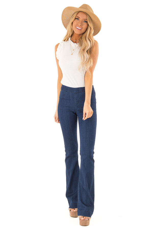Deep Blue Denim Flare Jeggings front full body