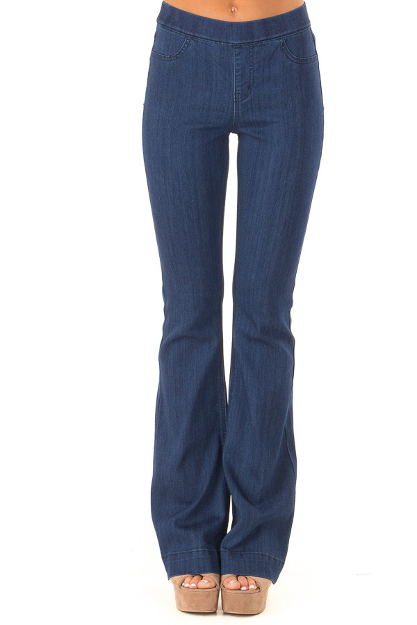 Deep Blue Denim Flare Jeggings front view