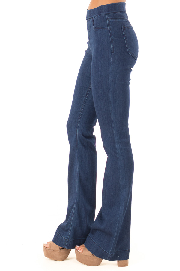Deep Blue Denim Flare Jeggings side view