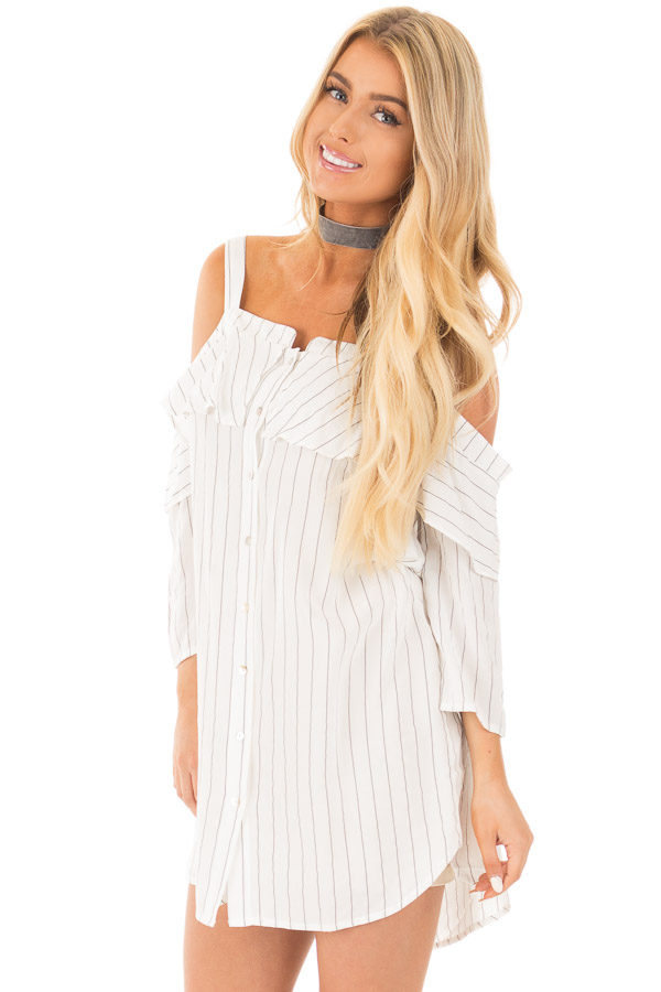 f120be36f464 Ivory Stripe Button Down Dress with Off the Shoulder Detail front close up