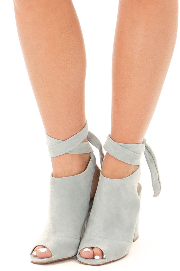 Blue Grey Suede Open Toe Ankle Boots with Tie Up Detail front view