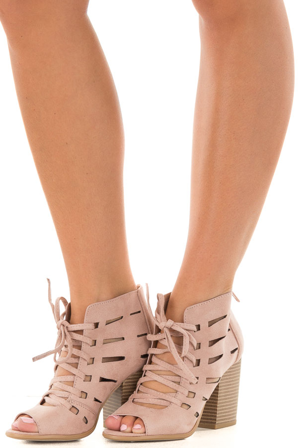 Blush Faux Suede Lace Up Open Toe Bootie and Cutout Detail front side view